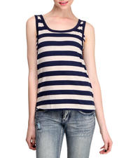 Fashion Lab - Striped Oversized Tank w/ Attached Mini Striped Bandeau