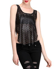 Women - Laser Cut Vegan Leather Front Tank