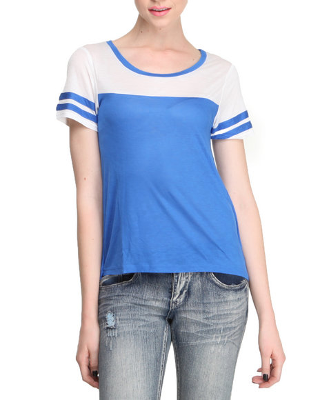 Fashion Lab - Women Off White,Blue Colorblock Slub Jersey Football Tee