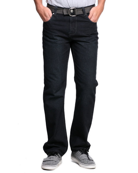 Basic Essentials - Men Black Nort Belted Denim Jeans