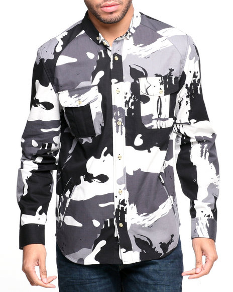 BLVCK SCVLE Black Cobra Commander Splatter Camo L/S Button-Down