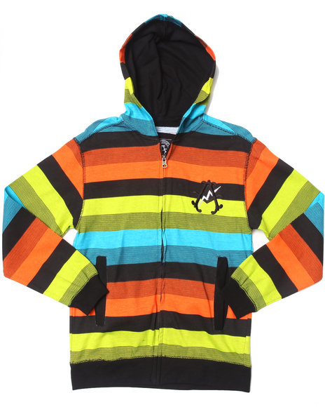 Akademiks - Boys Black Bright Stripe Hoodie (8-20)