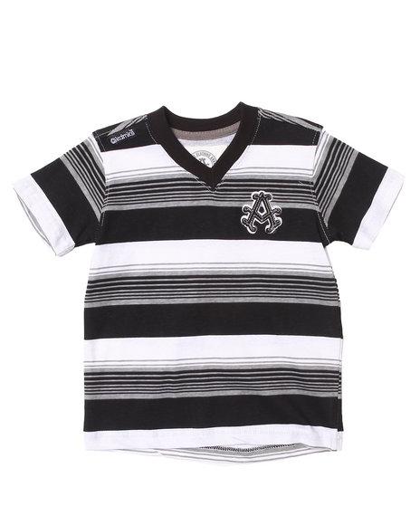 Akademiks - Boys Black Striped V-Neck Tee (2T-4T)