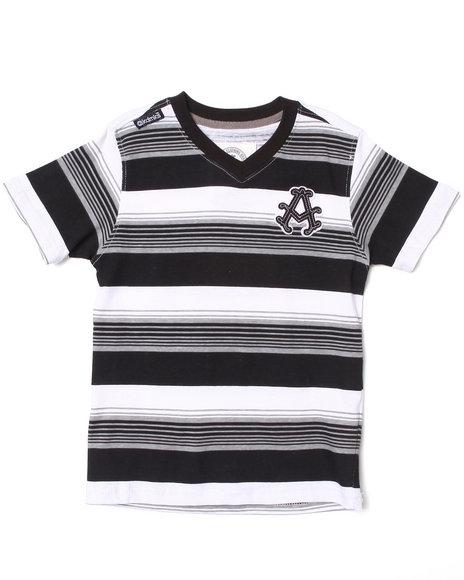 Akademiks - Boys Black Striped V-Neck Tee (4-7)