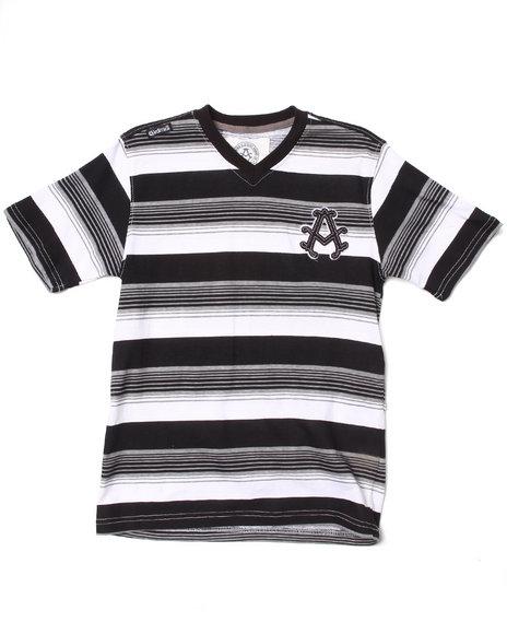 Akademiks - Boys Black Striped V-Neck Tee (8-20)