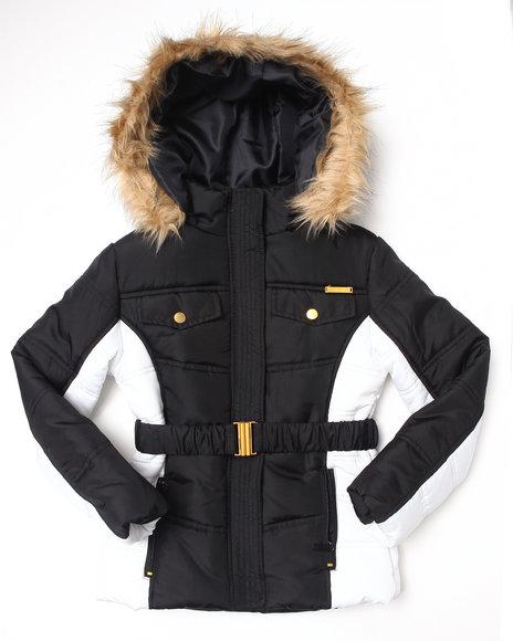 Apple Bottoms Girls Black Belted 3/4 Coat W/ Faux Fur Trim Hood (7-16)