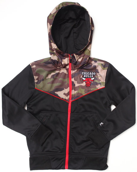 NBA MLB NFL Gear Boys Black,Camo Chicago Bulls Commando Hoodie (8-20)