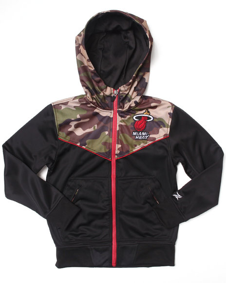 NBA MLB NFL Gear Boys Black,Camo Miami Heat Commando Hoodie (8-20)