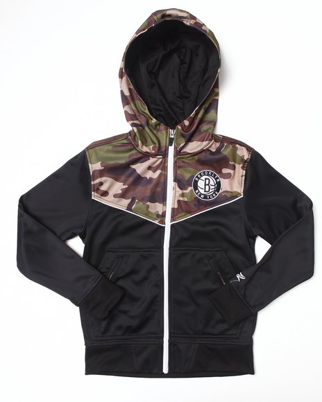 NBA MLB NFL Gear Boys Black,Camo Brooklyn Nets Commando Hoodie (8-20)