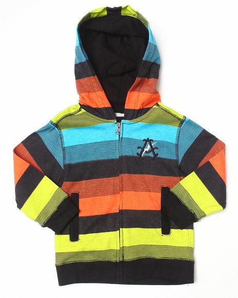 Akademiks - Boys Black Bright Stripe Hoodie (2T-4T)