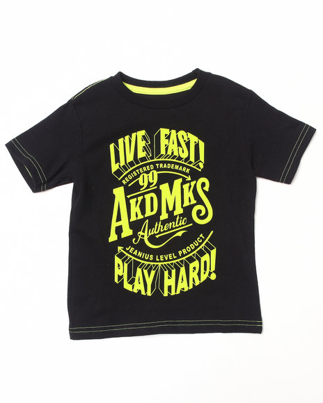 Akademiks - Boys Lime Green Neon Live Fast Tee (2T-4T)