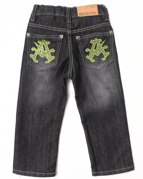 Akademiks - Boys Black Neon Pop Jeans (2T-4T)