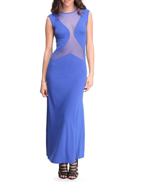 Fashion Lab - Women Blue Lake Minnetonka Maxi Dress W/Mesh Detail