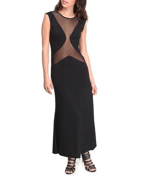 Fashion Lab - Women Black Lake Minnetonka Maxi Dress W/Mesh Detail