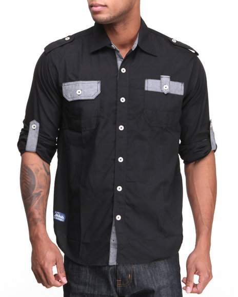 Akademiks - Men Black Quinton Roll Up L/S Button Down Shirt - $31.99