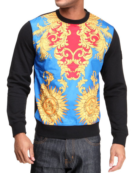 Protocol - Men Black Sunburst Crewneck Sweatshirt