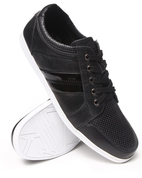 Pelle Pelle - Men Black Pelle Perf Faux Leather Sneaker