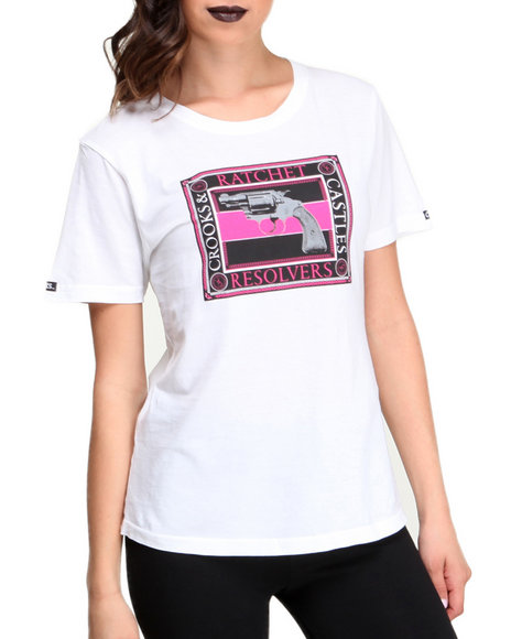Crooks & Castles - Women White Ratchet Resolvers Knit Crew T-Shirt