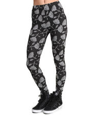 Leggings - Black Roses Knit Legging