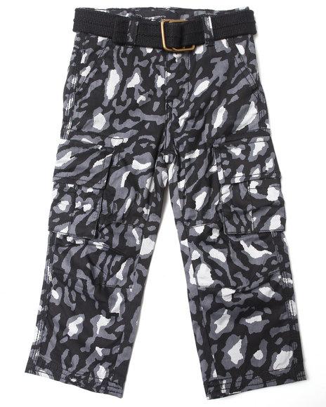 Akademiks - Boys Black Leopard Print Cargo Pants (2T-4T)