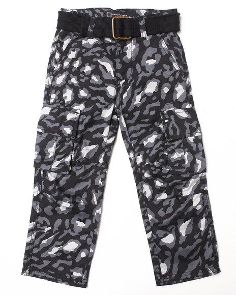 Akademiks - Boys Black Leopard Print Cargo Pants (4-7)