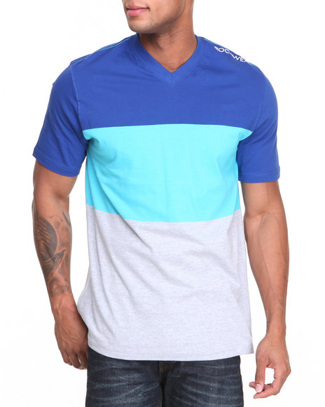 Rocawear - Men Blue Big Stripe S/S V-Neck Tee