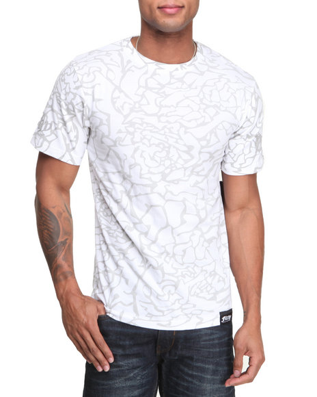 Filthy Dripped - Men White Crackle Print T-Shirt