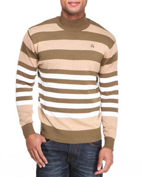 Akademiks Khaki Mock Neck Stripe Sweater