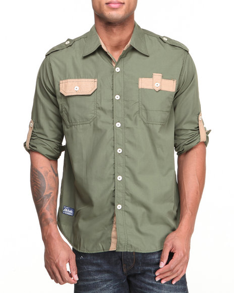 Akademiks - Men Olive Quinton Roll Up L/S Button Down Shirt