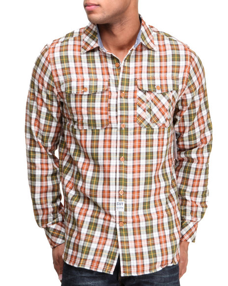 Rocawear Olive Bishop Plaid L/S Button-Down