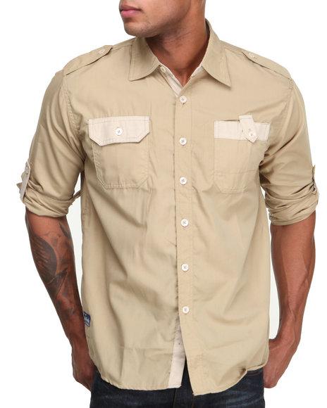 Akademiks - Men Khaki Quinton Roll Up L/S Button Down Shirt - $22.99