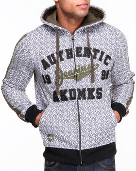 Akademiks - Guardian All-Over Print Fleece Full Zip Hoody w/ Chain Stitch Embroidery