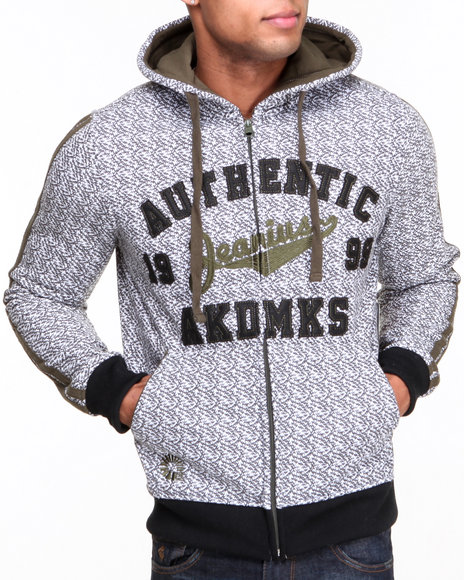 Akademiks - Men Olive Guardian All-Over Print Fleece Full Zip Hoody W/ Chain Stitch Embroidery - $29.99