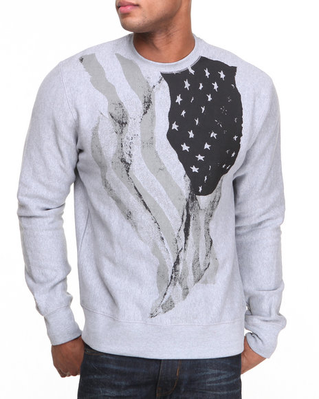Rocawear Grey Wave Your Flag Crewneck Sweatshirt
