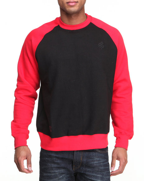 Rocawear - Men Black,Red Contrast Raglan Crewneck Sweatshirt