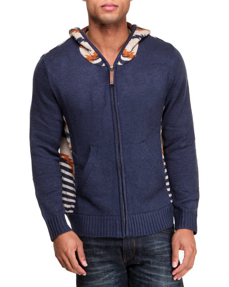 Rocawear - Men Blue Aztec Sweater Hoodie