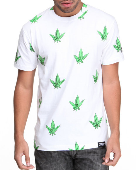 Filthy Dripped White Westside Weed Leaf T-Shirt