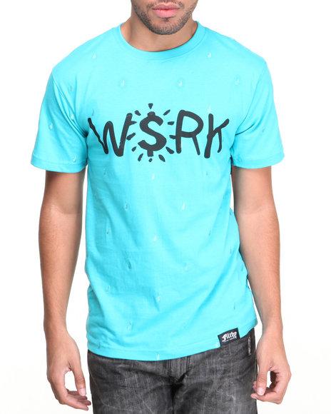 Filthy Dripped - Men Blue Work T-Shirt