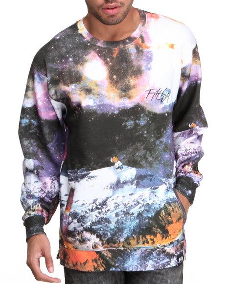 Filthy Dripped Black Snow Galaxy Crew Sweatshirt