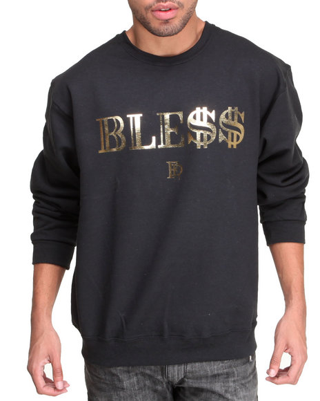 Filthy Dripped - Men Black Ble$$ Foil Crew Sweatshirt