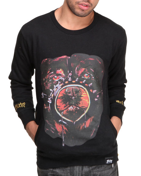 Filthy Dripped - Men Black Stfu Dog Crew Sweater