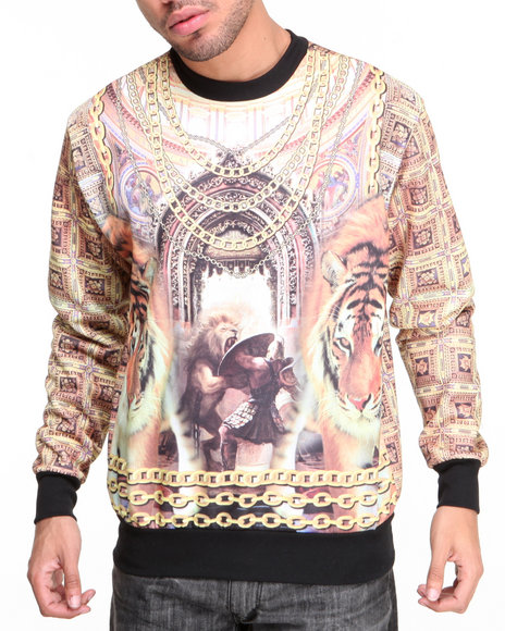Buyers Picks - Men Multi Cathedral N Chainz Sublimation Crewneck Sublimation Sweatshirt - $47.99