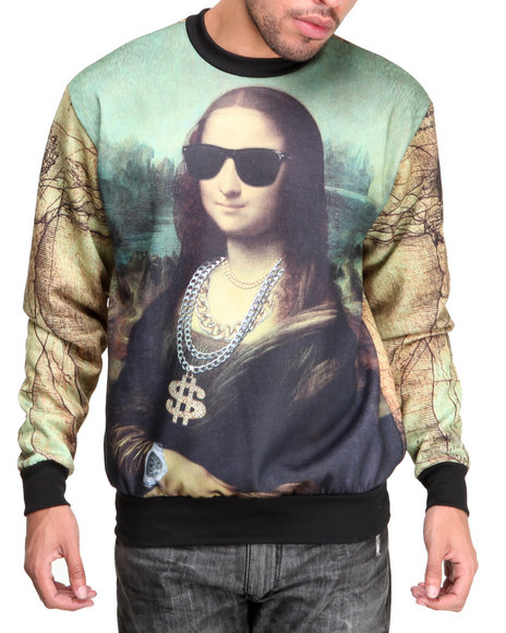 Buyers Picks - Men Multi Chillin Mona Sublimation Crewneck Sublimation Sweatshirt - $60.00