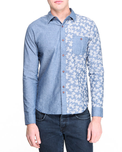 Bellfield - Men Blue Printed Denim Button-Down