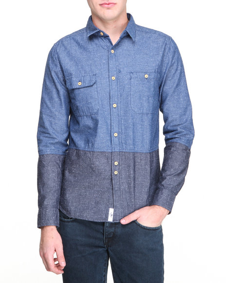 Bellfield - Men Blue Nepp Chambray Button-Down