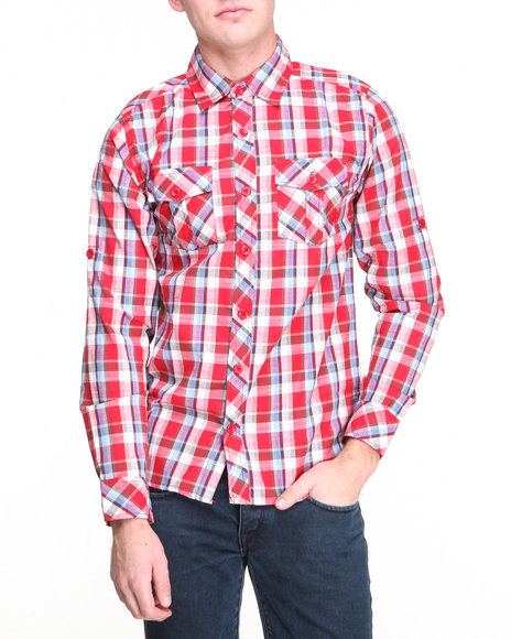 Buyers Picks - Men Red Multi Color Plaid L/S Button Down Shirt
