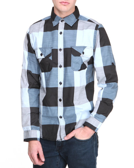 Buyers Picks - Men Black Over-Sized Plaid L/S  Button Down Shirt
