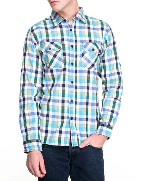 Buyers Picks - Men Navy Multi Check L/S Button Down Shirt