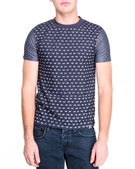 Bellfield - Men Navy Ditsy Skull Print T-Shirt