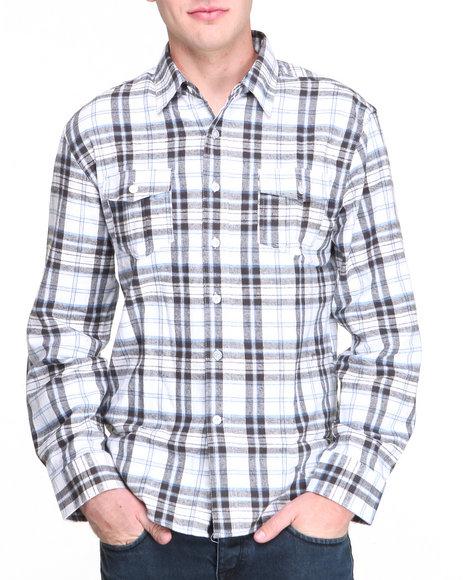 Buyers Picks - Men Blue Heavyweight Flannel Plaid L/S Button Down Shirt